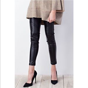 Black Moto Inspired Faux Leather Skinnies